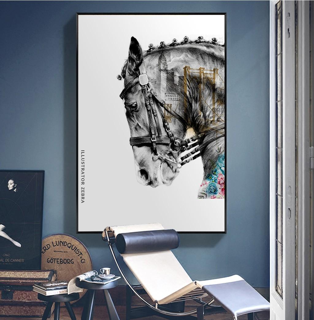现代简约客厅挂画卧室艺术装饰画手绘油画 马头