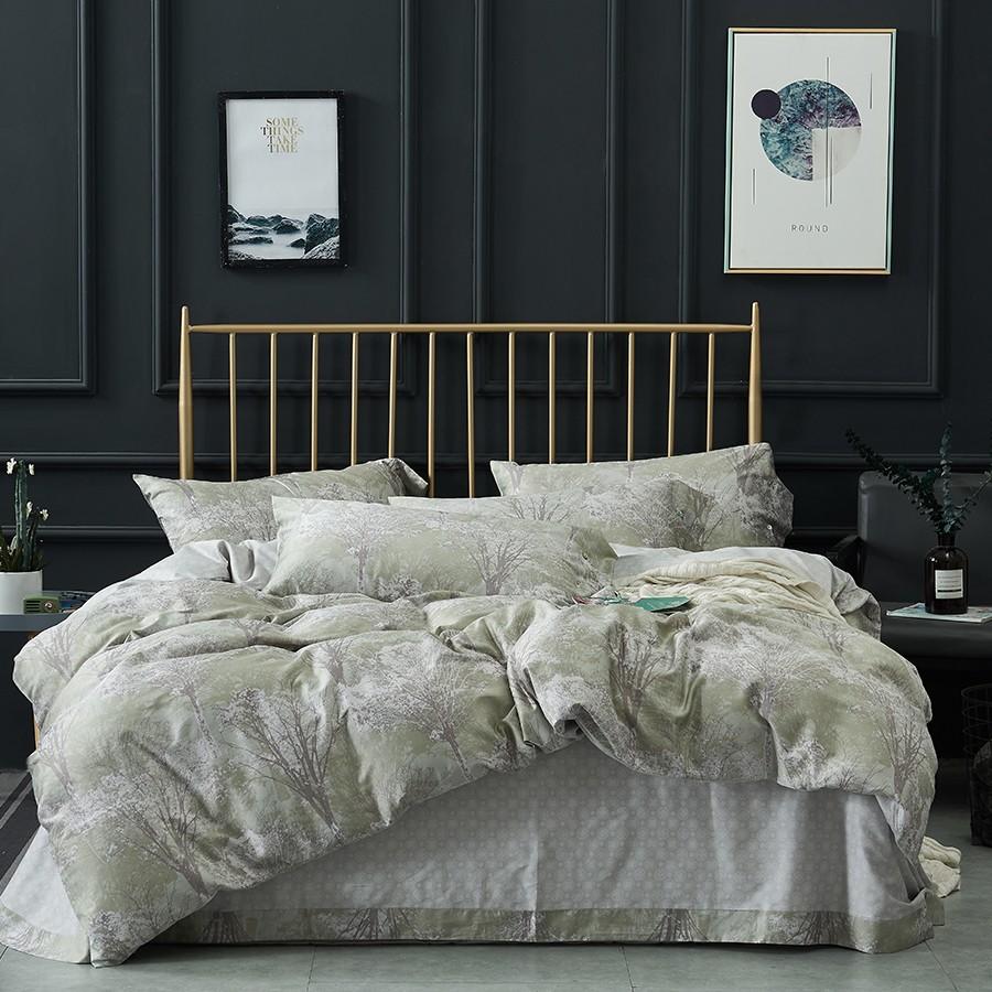 床上用品 纯棉四件套 蕾丝工艺 60贡缎长绒棉系列 科拉(绿)